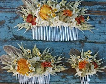 Sunset Rose Garden Dried Flower Hair Comb