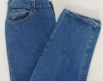 L.L.Bean Vintage Women's Size 18 Relaxed fit Jeans // Stonewashed Blue Denims / Straight Boyfriend 90's Mom Jean Style With Tags New