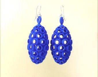 Ovum -- Blue 3D Printed Earrings | 3D Printed Earrings | 3D Printed Jewelry | Funky Jewelry
