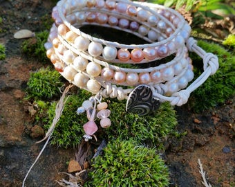 Triple Wrap Bracelet, Freshwater Pearl Leather Beaded Wrap ,Greatest Joy Gifts , Mothers Day Gift for Her, Heart Button, Heart Charms