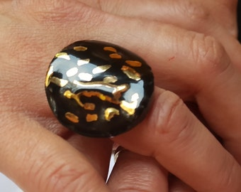 Rings-handmade ceramic ring PR6 with pure gold