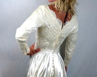 Vintage 1950s Satin Wedding Dress Gown
