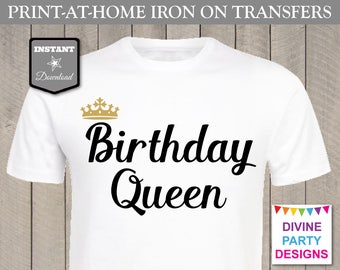 INSTANT DOWNLOAD Print at Home Gold and Black Birthday Queen Printable Iron On Transfer / T-shirt / Shirt / Item #3138