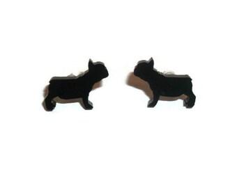 French Bulldog Earrings, Black Dog Stud Earrings, Animal Jewelry, Kawaii Cute Quirky
