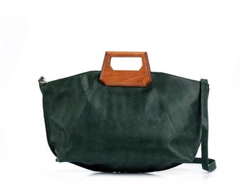 Emerald Green Soft Leather Tote Bag / Women Handbag / Crossbody Bag / Shoulder Bag / Messenger Bag / Leather Purse / Every Day Bag - Valos