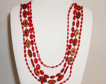 Vintage Four Strand Long Necklace Red and Gold Plastic Beads Statement Piece Costume Jewelry Fashion Woman's Style String Color wvluckygirl