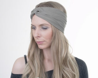 Khaki Green Turban, Yoga Headband, Workout Hairband, Boho Turban, Twisted Headband, Stretchy Headband, Womens Headband, Fashion Accessory