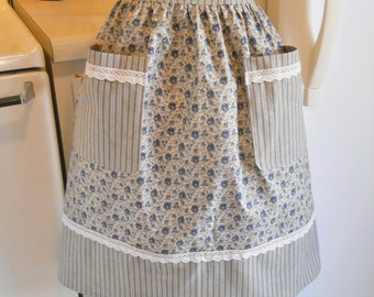 Old Fashioned Half Apron in Navy Floral Ticking and Lace
