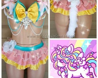 Unicorn Rave Wear Rainbow- Theme Wear- Dance - Costume - Halloween Costume - Custom  - EDM Wear - EDC - Rave Wear - Festival Clothing