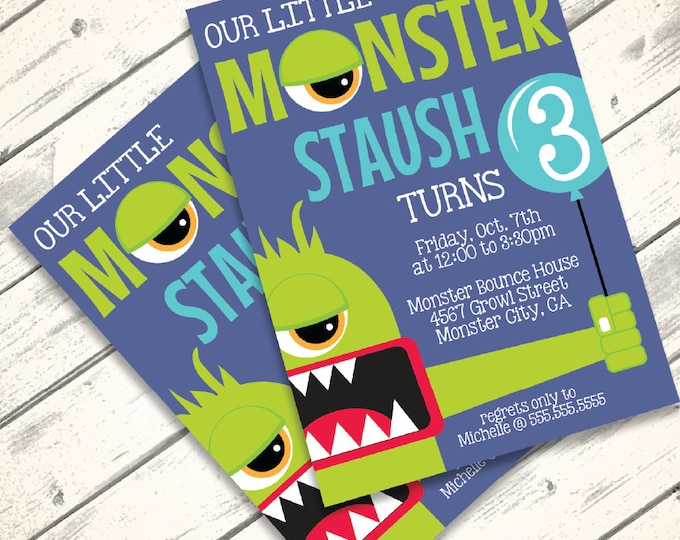 Monster Invitation - Monster Birthday or Monster Mash Party, Monsters Inc, Halloween | Editable Text - DIY Instant Download PDF Printable