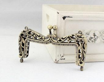 10cm(3.94inch) antique bronze Victorian style sewing metal purse frame A178-antique bronze
