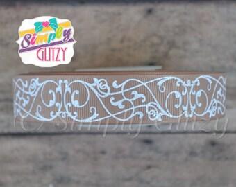 5 Yrds NATURAL TAN Ribbon with Swirly Swirls Damask Glitter Print 7/8 Inch Grosgrain Ribbon