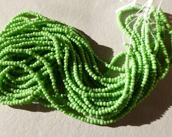 Vintage Czech Opaque Light Green 18/0 Glass Seed Beads