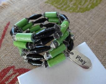 Wrap Bracelet, Paper Beads, Paper Bead Jewelry, Memory Wire Bracelet, Handmade Paper Beads, Boho Bracelet, Paper Bead Bracelet, 4 wraps