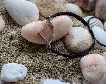 Naxos Island Bracelet - Macrame bracelet - Stainless Steel Charm Bracelet - Micro macrame adjustable bracelet - gift for her