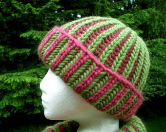 Wild Orchid Reversible Brioche Rib Cap - green pink cushy warm wool stocking cap