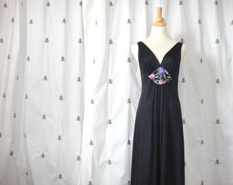 Vintage Slinky Black Nightgown, Pin Up, Purple Flower Embroidered Appliqué, Long, Vanity Fair, Size Small, Medium