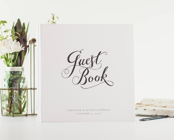 Wedding Guest Book black and white wedding guestbook sign in book photo booth book hardcover personalized names wedding planner book square