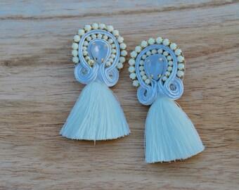 Tassel Earrings - Boho Earrings - Threader Earrings - Art Deco Earrings - Statement Earrings - Dangle Earring - White Earrings - Big Earring