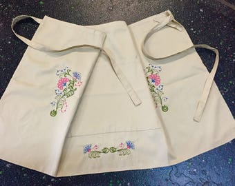 Embroidered Short Apron, waist Apron with Monogram