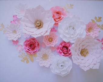 Nursery PAPER FLOWERS SET. 2 giant, 2 medium, 6 small flowers. Perfect for decorating a backdrop or wall. Blush pink/pinks/gold