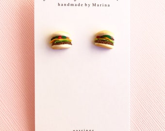 Hamburger Polymer Clay Earrings
