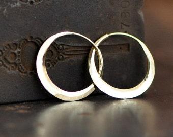 18k gold hoop earrings, forged hoops, petite 1 inchish hammered gold hoops