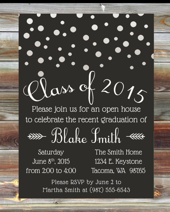 Custom color graduation open house invitation champagne grad like this item filmwisefo Images
