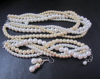 Ivory and Gold Champagne Bridal Pearl Set, Twisted Braided Statement Pearl Necklace Bracelet and Earring Set, Chunky Pearl Wedding Jewelry