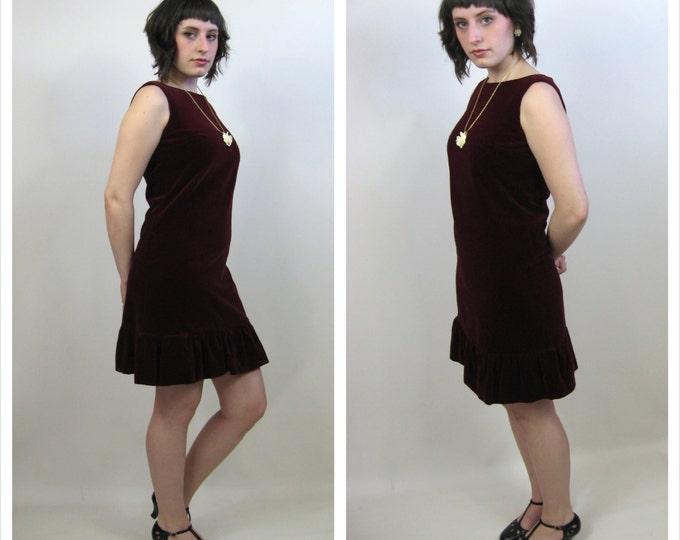 1960's Ruby Red Velvet Mini Dress / Vintage Wine Velvet Shift Mini Dress / Vera Mont of Paris Retro Velvet Dress / Ladies Size Medium