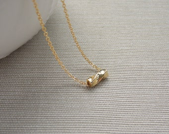 Gold Pendant Chain Necklace, Layering Necklace, Gold Beaded Pendant Necklace, Simple Pendant Necklace