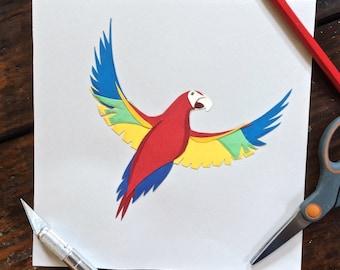 Parrot Cut Paper Artwork