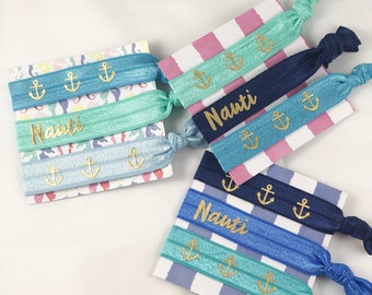 Bachelorette Hair Ties, Bridal Party Favors, Party Favors, Nautical