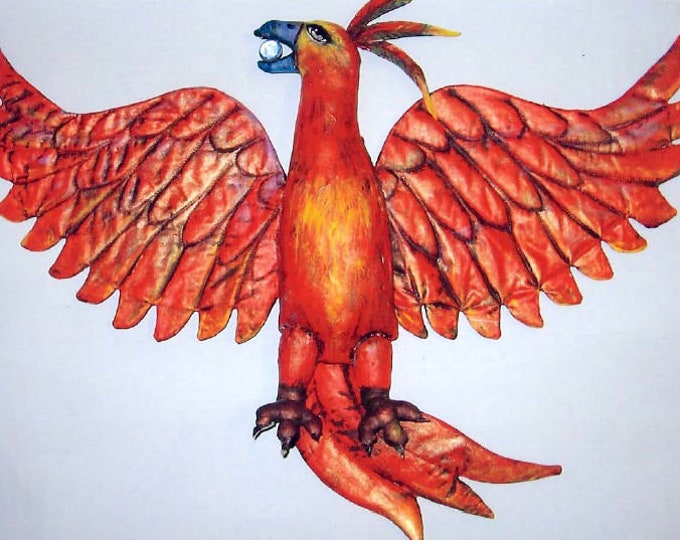 SE403E - Red Phoenix  - Painted Fabric Bird Art Pattern - PDF Download by Susan Barmore
