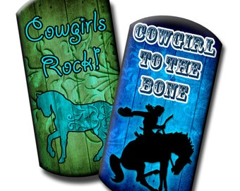 Cowgirl Sayings - 1x2 inches Dog Tag Images - (2) Digital collage sheets