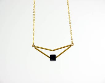 Tiny Gold Triangle Necklace, Minimalist Gold Delicate Necklace, Geometric Necklace, Christmas Gift, Black stone necklace, Birthhday Gift,