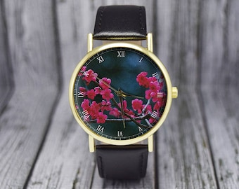 Cherry Blossoms Flower Watch | Leather Watch | Ladies Watch | Women's Watch | Gift for Her | Gift Idea | Floral Watch | Fashion Accessories