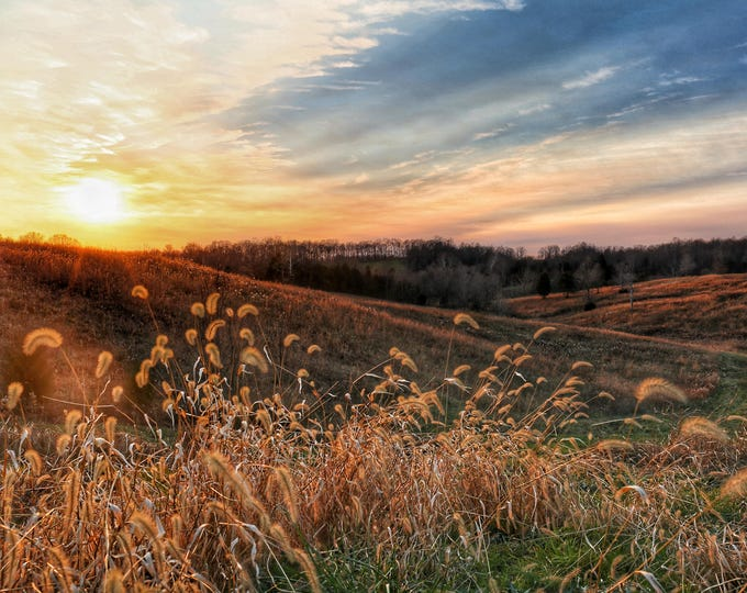 Photography, Landscape, Sunset, Nature Print, Title: Colorful Sunset Over Sparksville