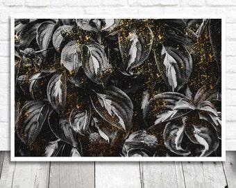 Black Leaves Print, Leaf Print, Leaf Printable, Black and Gold, Printable Wall Art, Digital Print, Instant Download, Leaves Wall Art Print