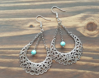 Silver Boho Earrings. Turquoise Earrings. Gypsy Earrings. Ethnic Earrings. Bohemian Earrings Tribal Hoop Earrings Handmade filigree earrings