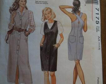 McCalls 7175, size 4-8, misses, petite, dress, jumper, UNCUT sewing pattern