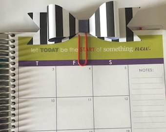 Bow Paperclips, Stripes, Chevron, Houndstooth Bookmark Filofax Erin Condren Day Planner Kikki K Plum Paper Planner Happy Planner