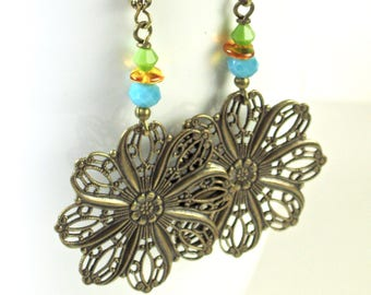 Large Boho Earrings - Filigree Earrings, Brass Earrings, Turquoise Earrings, Lightweight Earrings