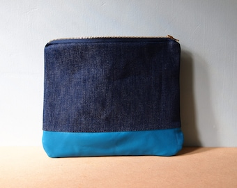 Leather Denim Pouch Purse - zipped pouch turquoise bag tidy catch all make up bag