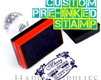 Custom Personalized Pre-Inked Stamp / Self Inking Stamp / Address Stamp / Wedding Stamp / Text, Logo or any Graphics Stamp