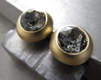 Unisex Black Diamond Crystal Gold Tone Stud Earrings - Matte Gold Plated Post Earrings with Swarovski Crystal, Modern + Minimalist Jewelry