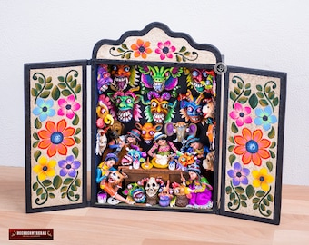 "Handmade Retablo Diorama ""Masks workshop"" from Peru - Handpainted Sculpture - Collectible Wood Diorama -Ceramic Folk Art - Peruvian Art"