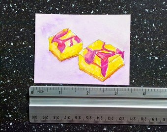 ORIINAL ACEO food illustration | Cheesecake with Raspberry Syrup