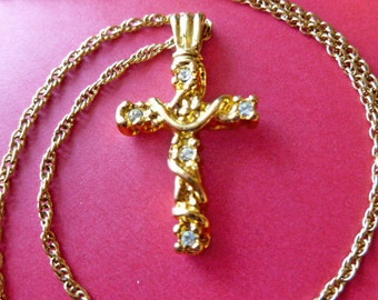 SIGNED DESIGNER Goldtone Rhinestone Cross Pendant, Gold Cross with Neck Chain, Vintage Cross Necklace, Faux Diamond Gold Cross Pendant