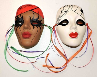 Mardi Gras Vintage Hand Painted Clays Masks - One Mask Is Signed - From New Orleans